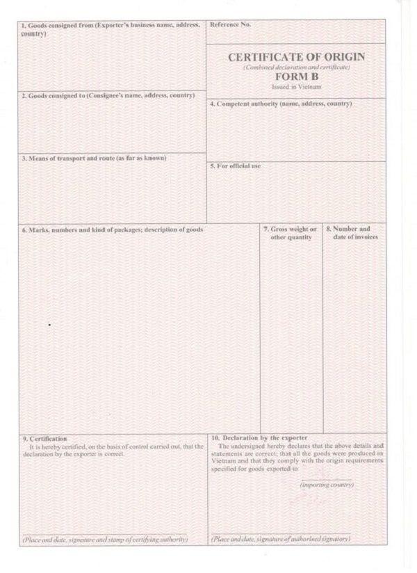 CO form B là gì? Hướng dẫn thủ tục xin cấp CO form B